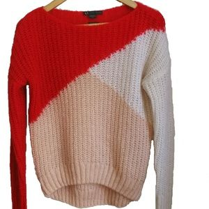 AX Color Block Red, Pink & White Pull Over, sz XS